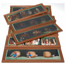 Set of 8 hand painted magic lantern slides film story displayed