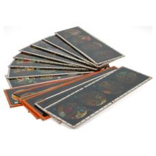 Set of 13 hand painted magic lantern slides film story displayed