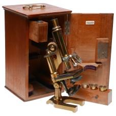Leitz New York microscope brass vintage 3 objective lenses rare